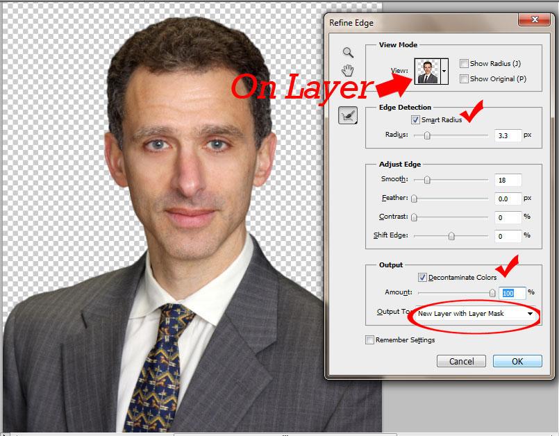 jangan lupa pilih output new layer with layer mask