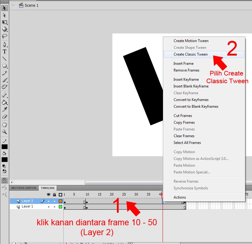 ... cepat menjauh masukkan frame lagi diantara frame 1 – 10 (Layer 2